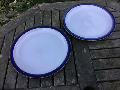 "2 x Denby Pottery Imperial Blue 10"" Dinner Plates"