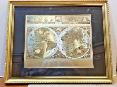 New & old world framed map GOLD Globe flat hang up ready 30 x 26