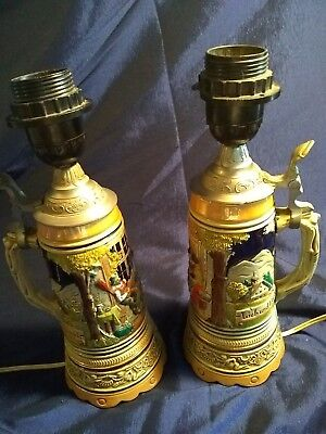 Vintage Antique Beer Stein Lamps Set Of Two marked