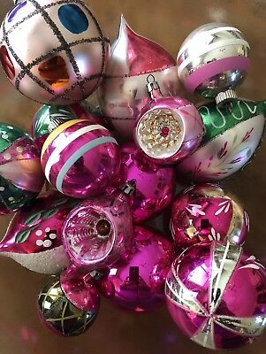 Vintage Lot Of 15 PINK Christmas Ornaments~Hand Painted, Indents, Stenciled