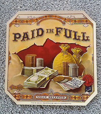 Paid In Full Outer Cigar Label Original Vintage