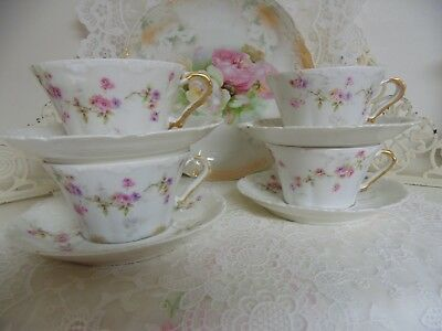 Four Theo Haviland Limoges Flared Cup Saucer Sch 339 Pink Purple Dresden Rose