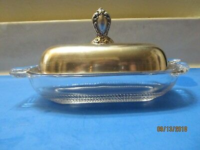 *********rogers And Sons Silver Plated Glass  Tear Drop Base Butter Dish********