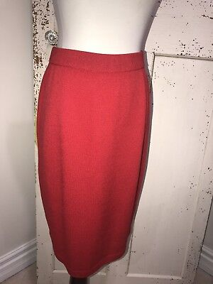 St John Marie Gray Collection Red Santana Knit Skirt Size 8