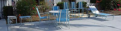Mid century Faux Bamboo Aluminum patio set teal blue AMAZING side table