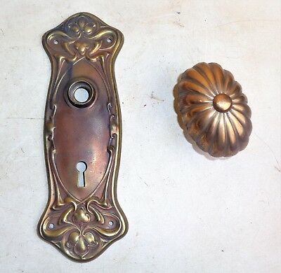 Antique Vintage Ornate Door Plate Oval Door Knob Victorian Old Hardware