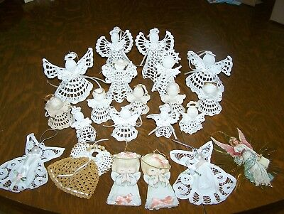 Crocheted ,lace, knitted and decopage angel ornaments- Group of 21