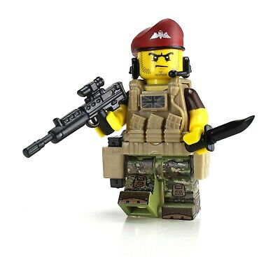British Paratrooper Soldier Battle Brick Custom made with real LEGO® Minifigure