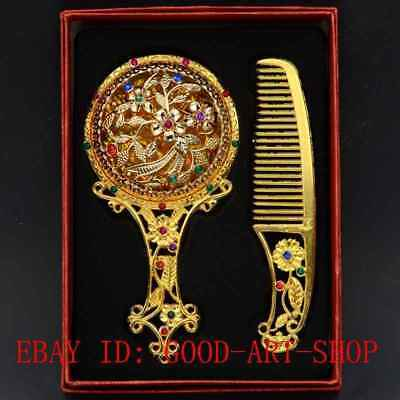 China Antique Brass Hollow Carved Plum Flower Makeup Mirror & Comb Set Gift Box