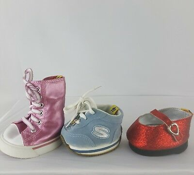 lot of 3 Build-A-Bear Workshop shoes Ruby slippers blue sketchers pink high tops
