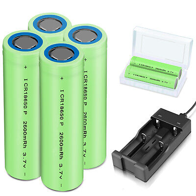 Batteries 2600mAh 18650 Rechargeable 3.7V Flat Top RC Battery+Case With Charger