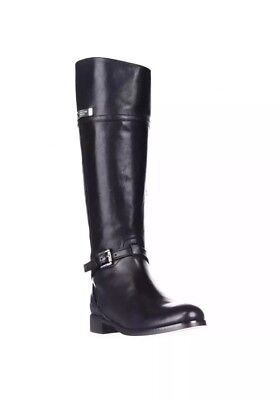 2942bf8b2df6 TORY BURCH STOWE Moto Black Pebbled Leather Mid Calf Boots Size 8 1 ...