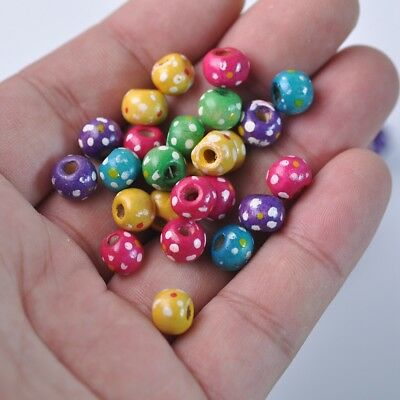 50pcs 7X8mm Round  Wood Spacer Wooden Loose Beads Random Mixed Findings