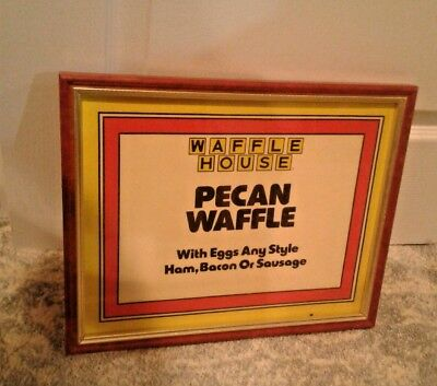 GOLD Waffle House sign Framed Man Cave Pecan Waffle HAM BACON Egg Sausage B-fast