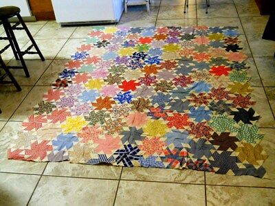 """Vtg 1940's ? Feed Sack Fabric Material Hand Sewn Pinwheel Quilt Top 71""""x 88"""""""
