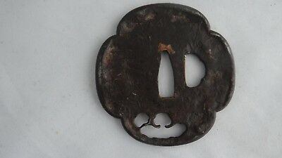 Authentic Antique Edo Period Japanese Samurai Sword Iron Tsuba