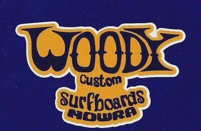 WOODY SURFBOARDS 1960s Manufacturer Sticker Decal LONGBOARD Surfing HOT ROD RAT