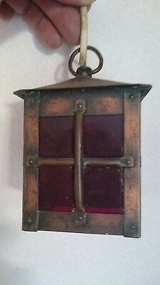 Small Antique French Brass & Copper with Red Glass Electric Light