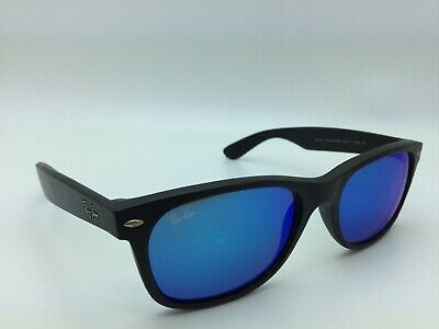 Ray Ban New Wayfarer Black Rubber Blue Flash RB2132 622 17 Sunglasses  Pre-owned c21618c3ca