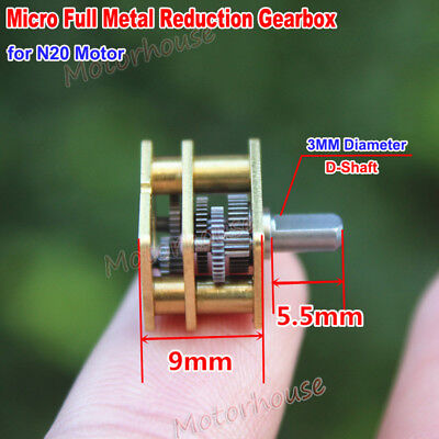 Mini Full Metal Gearbox Reduction Head 3mm D Shaft DIY N20 Gear Motor Reducer