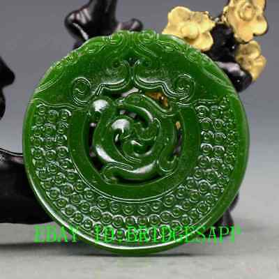 Chinese Natural Green Hetian  Jade Hand-Carved Dragon & Phoenix  Pendant  A32
