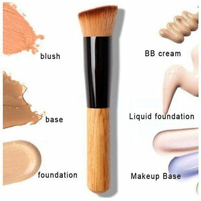 Makeup Brush Flat Angled Wood Liquid Foundation Powder Cream Contour Bronzer