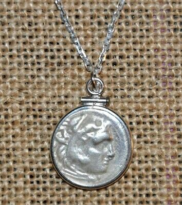 Authentic Ancient Silver Coin of Alexander III The Great 925 Sterling Necklace