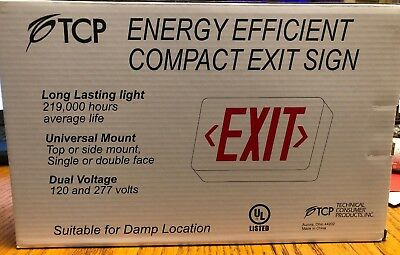 Tcp Energy Efficient Compact Led Exit Sign Damp Locations Ac & Dc Battery Backup