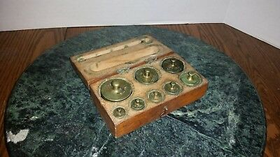 Antique Balance Scale Weight Set with Box