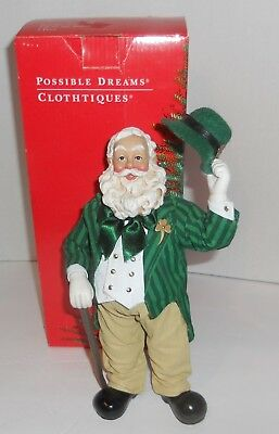 "NEW Clothtique Possible Dreams Santa Claus Iriah Top O the Mornin MIB 9"" Tall"