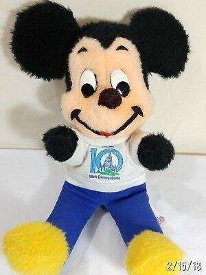 "1980s MICKEY MOUSE ""10 YEAR"" Stuffed TOY WALT DISNEY RARE! Hard to Find! VINTAGE"