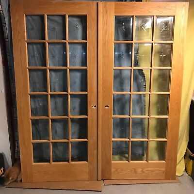 Double Pair Exterior Solid Oak Wood French Entry Doors /w Beveled Glass  72x80