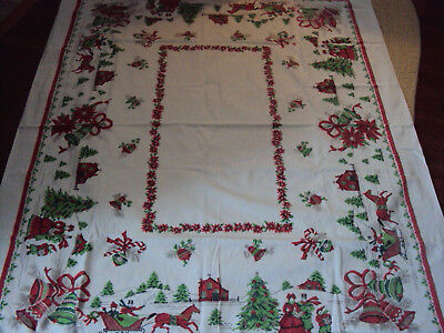"""Vintage Cotton Christmas Tablecloth ~ 50"""" by 58"""" ~ Sleigh Carolers Bells"""