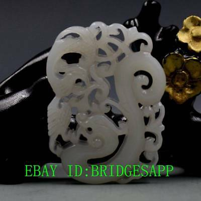Chinese Natural Hetian Jade Hand-Carved  Dragon & Phoenix Pendant  A10