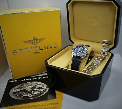 BREITLING Lady's Colt A77387 BLUE with stainless bracelet, rubber strap, box