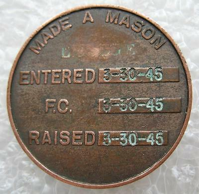 1945 'made A Mason' Masonic Coin, Penny, Token - Stamped Dates & Name