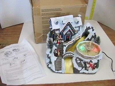 Avon Fiber Optic Holiday Christmas Musical W/ Water Fountain Village Scene