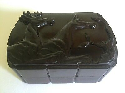 Vintage 1930's Art Deco Celluloid Bakelite Dbl Deer Relief Mens Valet Vanity Box