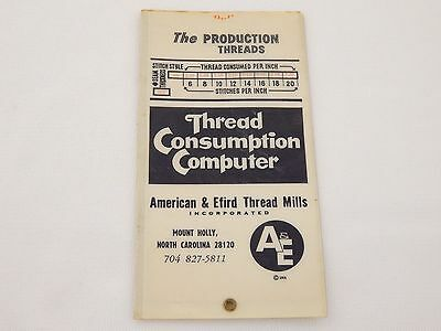 Vintage Slide Chart * The Production Treads * Thread Consumption Computer * 1968