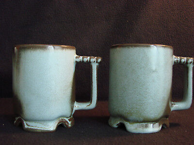 Vintage Frankoma Coffee Mugs CI Pottery ~ Plainsman Woodland Moss ~ Green Brown