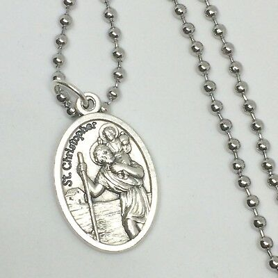 St Christopher Pendant Necklace 30 inch Stainless Steel Ball Link Chain