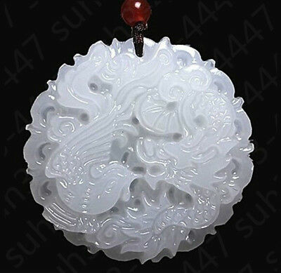 Chinese Natural White Jade Hand Carved Dragon Phoenix Pendant