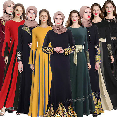 Muslim Women Long Sleeve Maxi Dress Abaya Dubai Kaftan Vintage Islamic Hot Stamp