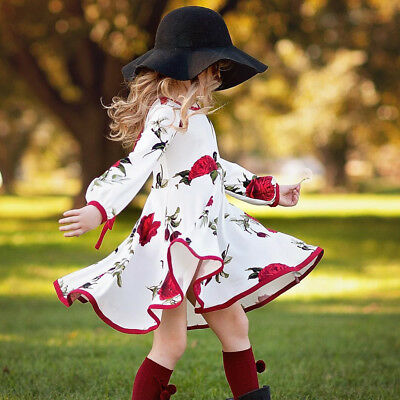 Kid Baby Flower Girl Floral Long Sleeve Party Birthday Princess Dress Clothes AU