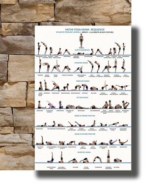New Yoga Exercise Bodybuilding Chart -20x30 24x36 Poster T-1156
