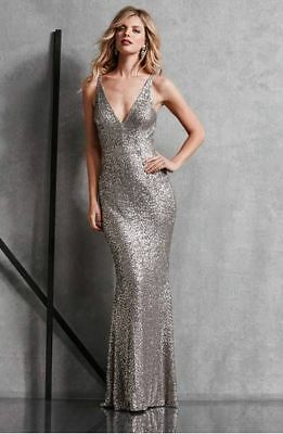 09c6261f9ba88 DRESS THE POPULATION Sequin Harper Mermaid Silver L Dress Gown New ...