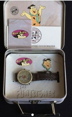 New Fossil 1993 Limited Edition The Flinstones Fred Lunchbox With Watch And Pin