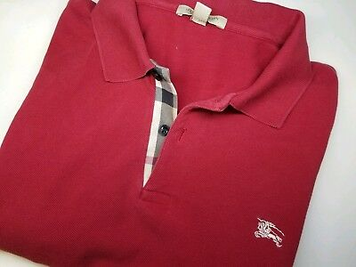 962817c30fe8 Burberry Brit Nova Check Pattern Large Classic Fit S S Polo Shirt Red Cotton