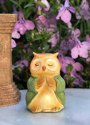 "Miniature FAIRY GARDEN ~ Tiny 1¼"" ZEN Buddha Animal Anjali Mudra OWL"