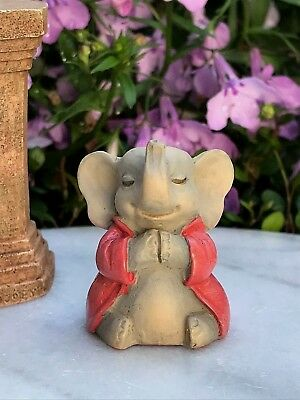 "Miniature FAIRY GARDEN ~ Tiny 1¼"" ZEN Buddha Animal Anjali Mudra ELEPHANT"